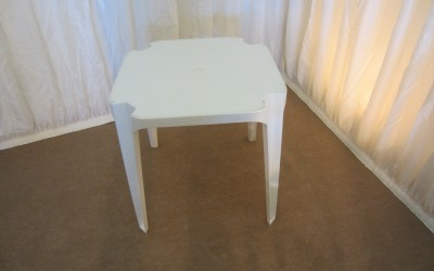 White Plastic Patio Table